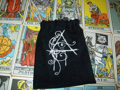 Black Velvet Embroidered All Seeing Eye Tarot Drawstring Bag 7x9 inch
