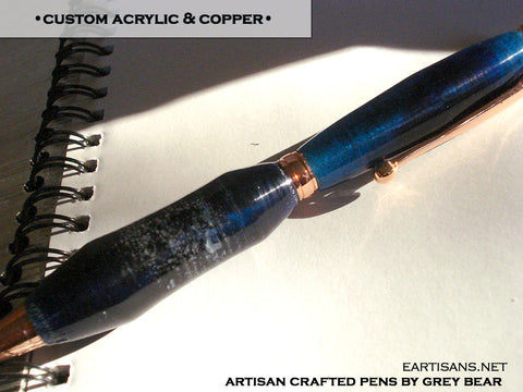 Handmade Custom Purple Acrylic and Copper Twist Pen