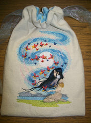 Embroidered Canvas Air Affinity Tarot/Rune Drawstring Bag 7x9 inch