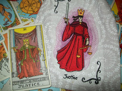 Justice Tarot Card Embroidered Rune/Tarot Drawstring Bag 7x9 Inch