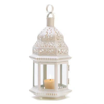 Ivory White Mystic Moroccan Style Lantern 12""