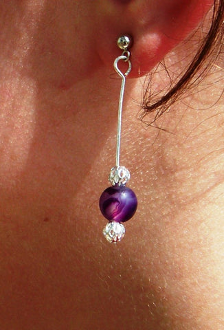 Banded Agate Amethyst Elegant Dangle Earrings