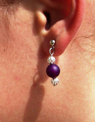 Banded Agate Amethyst Earrings