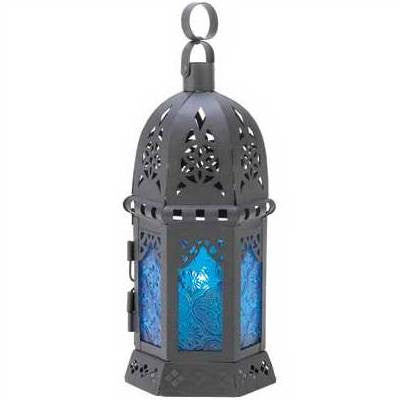 Ocean Blue Elemental Candle Dome Top Lantern 10 1/4""