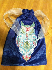 Embroidered Full Moon Owl Drawstring Tarot Bag 7x9 inch