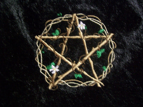 Black Velvet Embroidered Viney Pentacle Tarot/Rune Drawstring Bag 7x9 inch