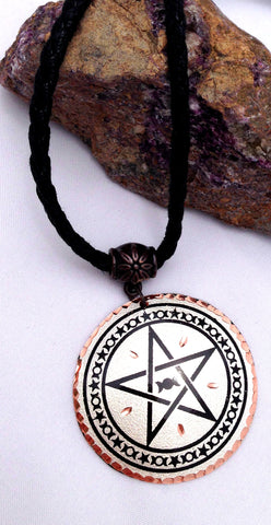 Copper Pentacle Triple Moon Necklace