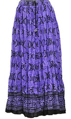 Purple Triple Moon w/Pentacle Crinkle Gypsy Skirt