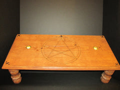 Pentagram Altar Table with Brass Candle Holder Inserts