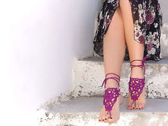 Handmade Purple Lilac Barefoot Sandals