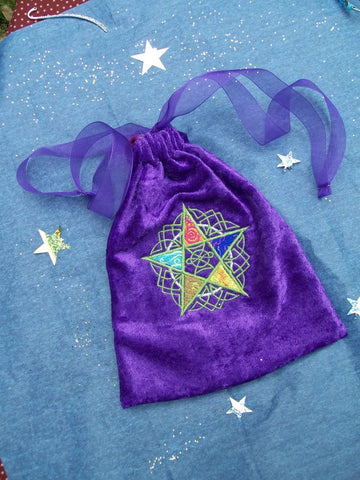 Embroidered Purple Velvet Pentacle Elements Tarot Bag 7x9 inch