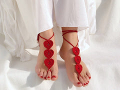 Handmade Barefoot Sandals Red Hearts