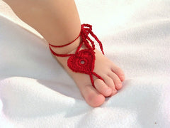 Baby Barefoot Heart Sandals-Red