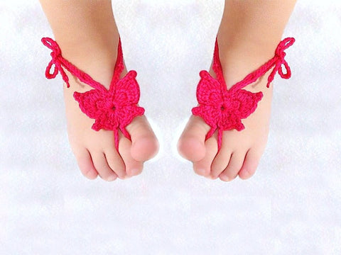 Baby Barefoot Sandals - Red Butterfly