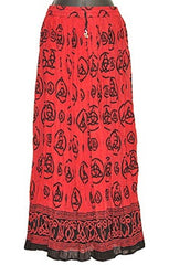 Red Triquetra Crinkle Gypsy Skirt