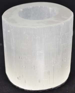 White Selenite Round tealite candle holder