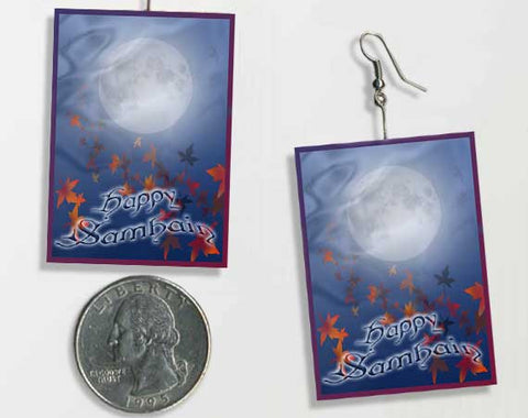 Samhain Moon Veil Double Sided, Light-Weight Paper Earrings