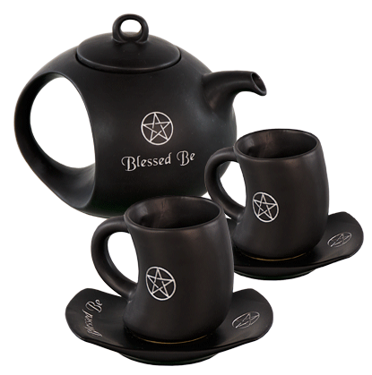 Pentacle Blessed Be Black Tea Set-Ceramic
