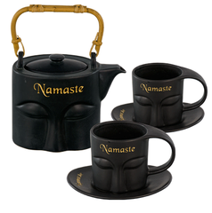 Namaste Tea Set Black Ceramic