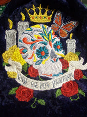 Embroidered Calavera Sugar Skull Alter Tarot/Rune Drawstring Bag 7x9 inch