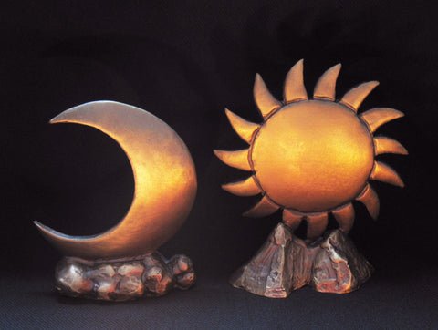 Hand Made Solid Bronze Sun and Moon Altar Markers (set)