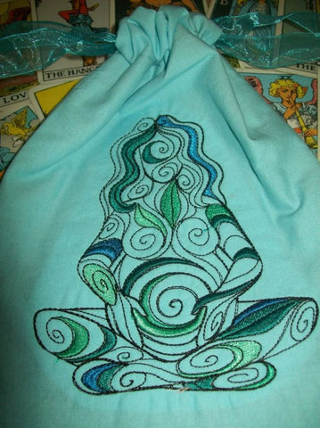 Embroidered Gaia Tarot/Rune Drawstring Bag 7x9 inch