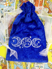 Embroidered Blue Velvet Triple Moon Tarot Bag Drawstring Bag 7x9 inch