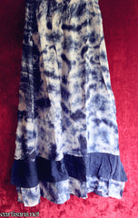 Blue and White Tie-Dye Layered Hippie Skirt-Free Size
