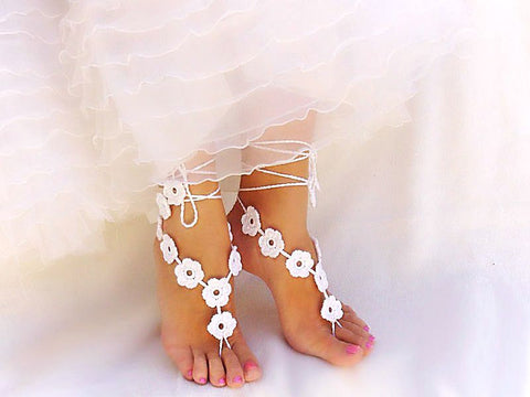 Handmade White Flower Barefoot Sandals