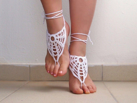 Barefoot Sandals - Handmade White Victorian Lace OOAK