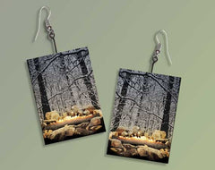 Burning Yule Log Ultra-Light Paper Earrings