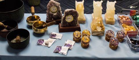 Singing bowls, Crystal lamps, Amethyst clock