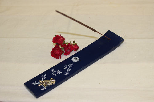 Wood Incense Holder with Metal Owl - Navy Blue -  Star Soul Metaphysics Caffe