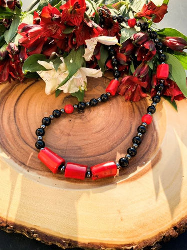 Obsidian, Coral and Hematite Necklace | Star Soul Metaphysics