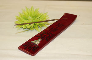 Wood Incense Holder with Metal Buddha Red -  Star Soul Metaphysics Caffe