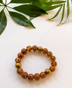 Brown Agate and Gold Hematite Bracelet