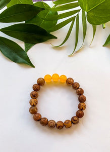 Brown Agate and yellow aventurine bracelet