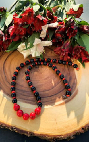 Coral, Black Onyx and Howlite Necklace | Star Soul Metaphysics