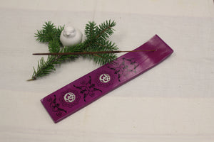 Wood Incense Holder with Metal OM Purple -  Star Soul Metaphysics Caffe