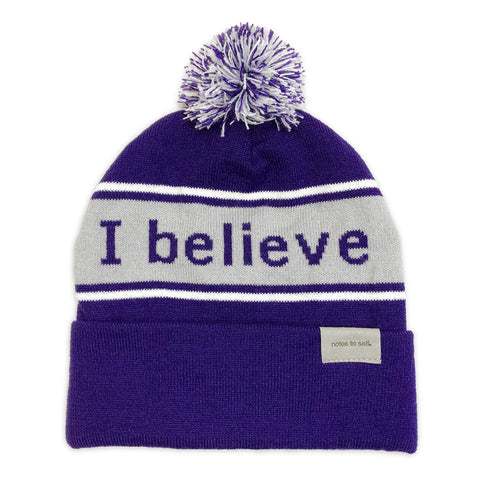 i believe we are awesome purple beanie shown with single cuff