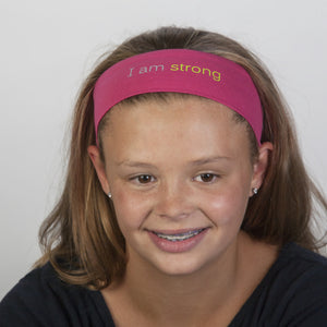 i am strong fuchsia headband with positive message