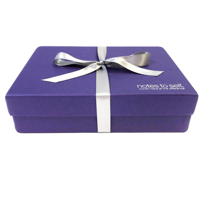 keepsake purple box with silver ribbon socks sold separately