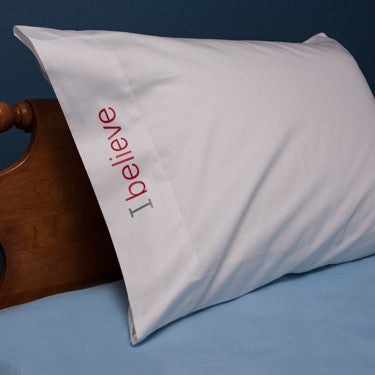 i believe cotton pillowcase with red words