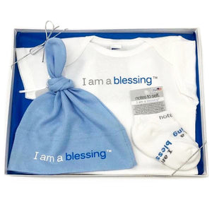 i am a blessing baby boy gift set with blue onesie socks and hat