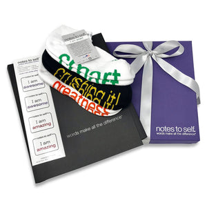 congratulations gift set socks notebook and stickers