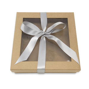 brown gift box with ribbon
