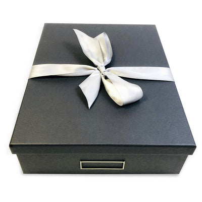 designer sock drawer storage box graphite color with silver bow