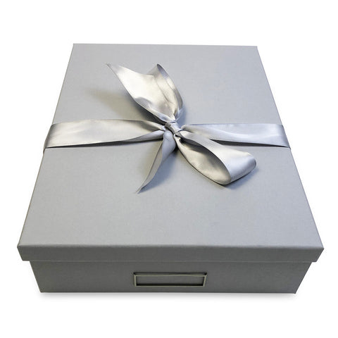 designer gift box in lt grey with silver satin ribbon