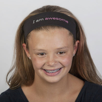 i am awesome black headband with positive words
