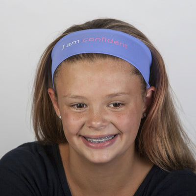 i am confident periwinkle purple headband with positive message